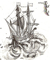 Ship on the copper-plate